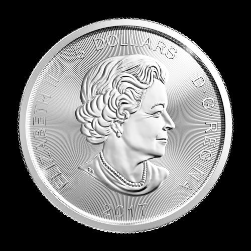 """Angreifender Luchs und die Worte """"Canada 9999 Fine Silver 1 oz Argent Pur"""""""