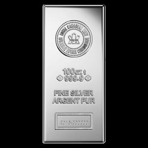 100 oz Royal Canadian Mint Ny Stil Sølvbarre