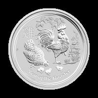 Moneda de Plata Año Lunar del Gallo Casa de la Moneda de Perth 2017 de 1/2 oz