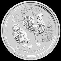 Moneda de Plata Año Lunar del Gallo Casa de la Moneda de Perth 2017 de 5 oz