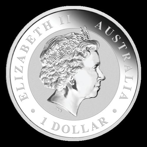 """Ein Koala, der über einen Eukalyptusast läuft, die Worte """"Australian Koala 2017 1 oz 999 Silver"""" und das Perth Prägezeichen """"P""""."""
