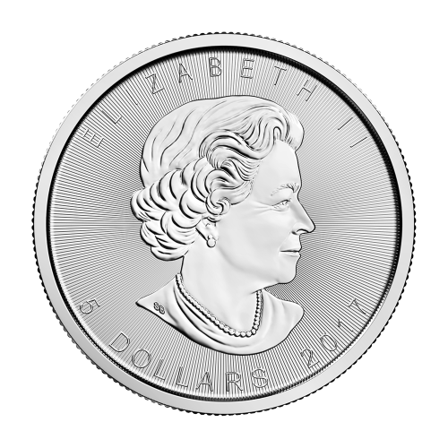 """Maple Leaf and the words """"Canada 9999 Fine Silver 1 oz Argent Pur 9999"""""""