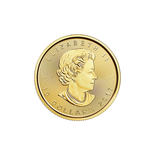 "Maple Leaf and the words ""Canada 9999 Fine Gold 1/4 oz Or Pur 9999"""