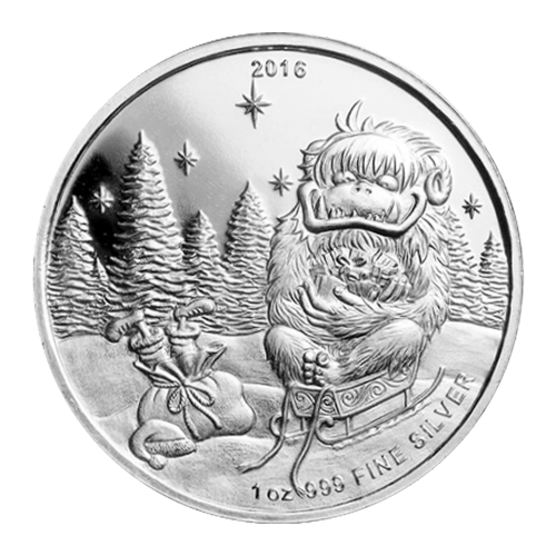 "Abominable snowman sitting in Santa's sled with Santa tied up in his sack and the words ""2016 999 Fine Silver"""