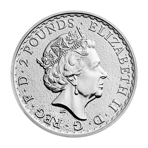 "A Standing Britannia with shield, trident and olive branch and the words ""Britannia 2017 1 oz 999 Fine Silver"" and the artist's last name (Nathan)"