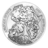 1 oz 2017 Rwanda African Hippo Silver Coin