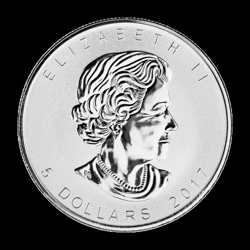 """Ahornblatt, Sonderprägezeichen zum 150. Jubiläum und die Worte """"Canada 9999 Fine Silver 1 oz Argent Pur 9999"""""""