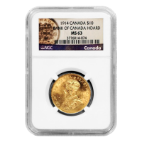 1914 $10 Canadian Gold Reserve NGC MS-63 Gold Coin