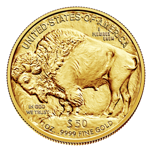 """Image of a bison and the words """"United States of America E Pluribus Unum In God We Trust $50 1 oz 9999 Fine Gold"""""""