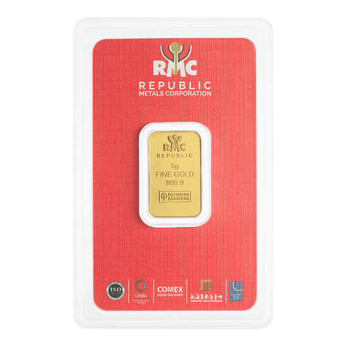 """Republic Metals Corporation Logo und die Worte """"Republic 5 g Fine Gold 999.9 Refiners Assayers"""""""