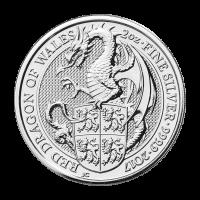 Bestias de la Reina Acuñación Real 2017 de 2 oz | Moneda de Plata Dragón Rojo de Gales