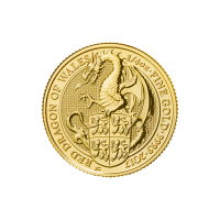 1/4 oz 2017 Royal Mint Queen's Beasts   Red Dragon of Wales Gold Coin
