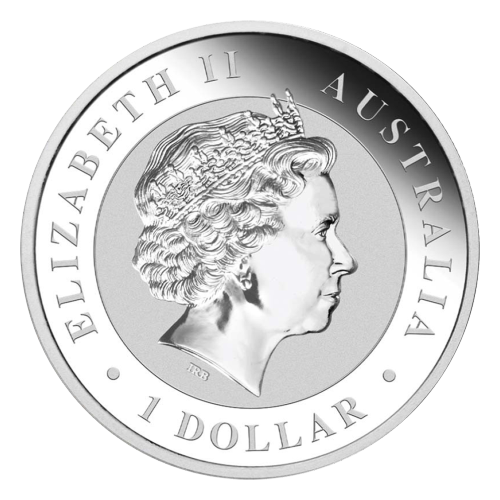 """Two kookaburras sitting on a fence along with a privy mark of a shark and the words """"Australian Kookaburra 1 oz 999 Silver 2017"""" and the mintmark """"P"""""""