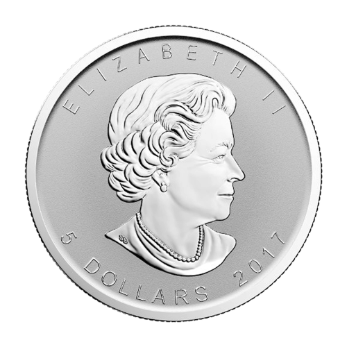 """Maple Leaf with a privy mark of a male moose and the words """"Canada 9999 Fine Silver 1 oz Argent Pur"""""""