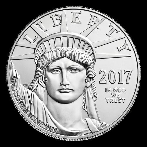 """Eine Nahaufnahme des Gesichts der Freiheitsstatue mit den Worten """"Liberty 2017 In God We Trust"""" und den Initialen des Künstlers. Auf dem gehobenen Arm ist """"E Pluribus Unum"""" eingraviert."""