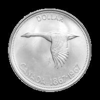 1967 Canadian Silver Dollar $1 Face Value Circulation 80% Pure Silver Coin