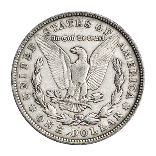 """Bald eagle with wings spread clutching an olive branch and several arrows and the words """"United States of America In God We Trust One Dollar"""""""
