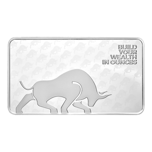 "Silver Gold Bull logo and the words ""Build your wealth in ounces"" with the bull logo ghosted in the background"