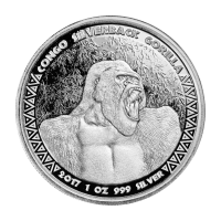 1 oz 2017 Congo Silverback Gorilla Silver Coin