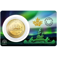 Moneda de Oro Voyageur Edición Especial 150° Aniversario Canadiense 2017 de 1 oz
