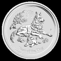 Moneda de Plata Año Lunar del Perro de la Casa de la Moneda de Perth 2018 de 2 oz