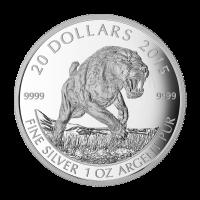 Moneda de Plata Felino de Dientes de Sable La Cimitarra Americana 2015 de 1 oz