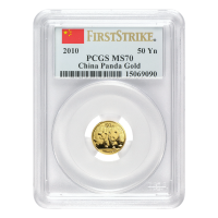 1/10 oz 2010 Chinese Panda PCGS First Strike MS 69 Gold Coin
