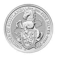 Bestias de la Reina de la Casa de la Moneda Real 2018 de 2 oz | Moneda de Plata Unicornio de Escocia
