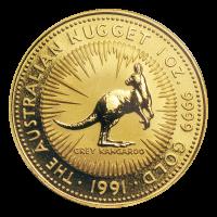 Moneda de Oro Pepita Australiana 1991 de 1 oz