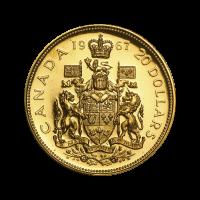 Moneda de Oro Centenario de la Casa de la Moneda Real Canadiense 1967