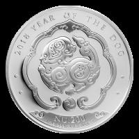 1 oz 2018 Kingdom of Bhutan Lunar Year of the Dog Silver Coin