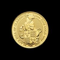 Bestias de la Reina de la Casa de la Moneda Real   Moneda de Oro Toro Negro de Clarence 2018 de 1/4 oz