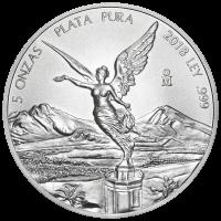 Moneda de Plata Libertad Mexicana 2018 de 5 oz