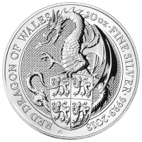 Moneda de Plata Dragón Rojo de Gales 2018 de 10 oz | Bestias de la Reina de la Casa de la Moneda Real