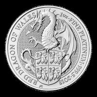 1 oz Platinmünze - Queen's Beasts (Die Tiere der Königin) | Der rote Drachen von Wales - Royal Mint 2018