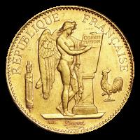 Moneda de Oro 100 Francos Franceses Año Aleatorio