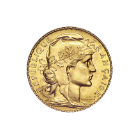 1906 - 1914 French Rooster 20 Franc Gold Coin