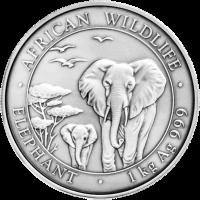 1 kg | kilo 2015 Somalian African Antiqued Elephant Silver Coin