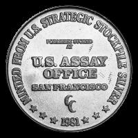1 oz 1981 U.S. Assay Office Silver Round