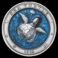 Moneda de Plata Tortuga Marina | Mundo Submarino de Barbados 2018 de 3 onzas
