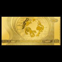 Serie Dinero del Mundo | Lámina delgada de oro Billete Moneda Dinero del Mundo de 1/2 gramo