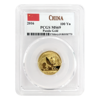 8 gram 2016 Chinese Panda PCGS MS 69 Gold Coin