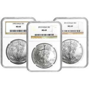 1 oz Random Year NGC MS 69 American Eagle Silver Coin