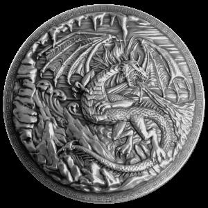 10 oz Monarch Precious Metals Dragon vs Viking Ultra High Relief Silver Round