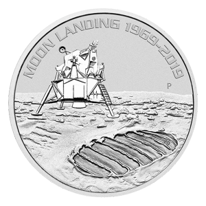 1 oz 2019 Perth Mint 50th Anniversary of the Moon Landing Silver Coin