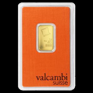 Barra de oro Valcambi de 5 gramos