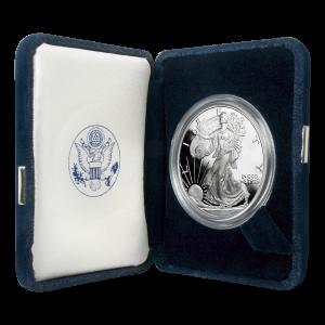 Moneda de plata a prueba Águila Americana de año aleatorio de 1 onza