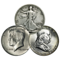 $0.50 Face Value U.S. Half Dollar Circulation 90% Silver Coin