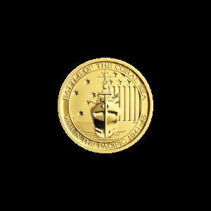 Moneda de oro Batalla del Mar de Coral de 1/4 onza