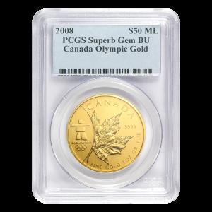 1 oz 2008 Canadian Maple Leaf Olympic Privy PCGS Superb Gem Gold Coin